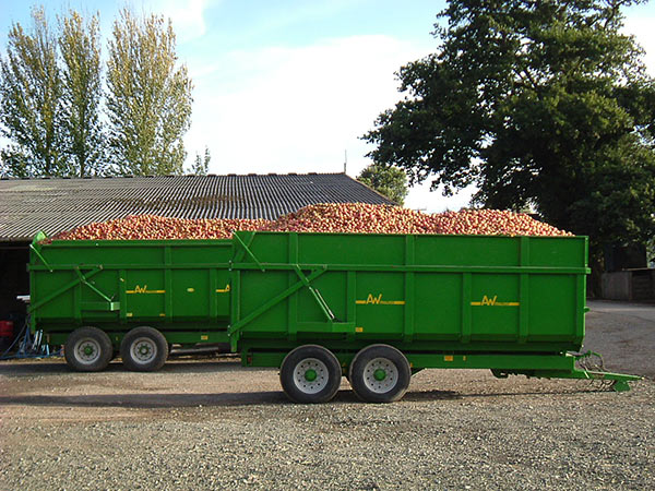 Apple trailers at Throne Farm